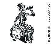 a skeleton is drinking a bottle ... | Shutterstock .eps vector #1806064480