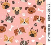 Cute Pets Pattern With...