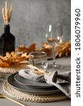 Autumn Table Setting With Dry...