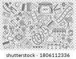 cinema doodle set. collection... | Shutterstock .eps vector #1806112336