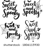 sweet and spooky hand lettering ...   Shutterstock .eps vector #1806115930