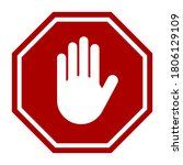 stop sign with hand icon.... | Shutterstock .eps vector #1806129109