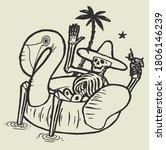tropical skeleton resting in... | Shutterstock .eps vector #1806146239