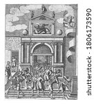 Small photo of Porta Magna from the Venetian Arsenal, anonymous, 1610 View of the Porta Magna from the Venetian Arsenal, vintage engraving.
