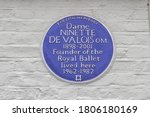 Small photo of London / UK - August 30 2020: English Heritage Blue Plaque, Dame Ninette De Valois, the founder of the Royal Ballet, Barnes, West London