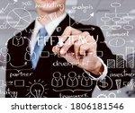 business man touching data... | Shutterstock . vector #1806181546