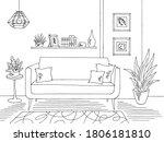 living room graphic black white ... | Shutterstock .eps vector #1806181810