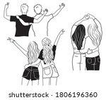 set of best friends hugging....   Shutterstock .eps vector #1806196360