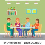 happy group of friends eating...   Shutterstock .eps vector #1806202810