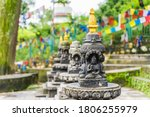 Several Small Stone Stupas In A ...