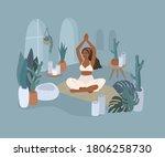 cute girl doing yoga poses.... | Shutterstock .eps vector #1806258730