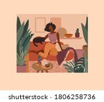 cute african girl resting with... | Shutterstock .eps vector #1806258736