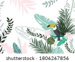 Toucan In The Tropics. Palm An...