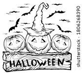 halloween pumpkins in hat and... | Shutterstock .eps vector #1806268390