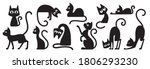 black cats silhouettes set for... | Shutterstock .eps vector #1806293230