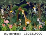 border with trees and animals...   Shutterstock .eps vector #1806319000