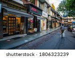 Small photo of New Delhi/India-Aug 31 2020:empty market due to covid-19 Khan Market one of the most famous shopping center in India . Indian Economy decrease by a record 23.9 per cent of this quarter