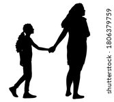 silhouette of happy family on a ... | Shutterstock . vector #1806379759