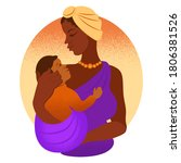 afro woman with child... | Shutterstock .eps vector #1806381526