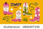 Various Cowboy Boots. Different ...