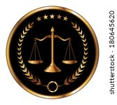 Law or Layer Seal is an illustration of a design for law, lawyers, or law firms in striking reflective gold and black. Includes scale of justice, laurel and gold stars.