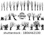 set of spooky halloween tree...   Shutterstock .eps vector #1806462130