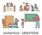 children are learning korean... | Shutterstock .eps vector #1806470266