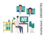 telecommuting concept. vector... | Shutterstock .eps vector #1806484783