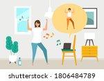 online fitness concept. work... | Shutterstock .eps vector #1806484789