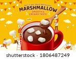 marshmallow hot chocolate ad in ... | Shutterstock . vector #1806487249