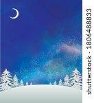 watercolor style winter night... | Shutterstock .eps vector #1806488833