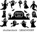 set of spooky halloween ghosts. ...   Shutterstock .eps vector #1806545089