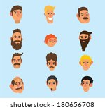 faces icon set  flat design ... | Shutterstock .eps vector #180656708