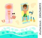boy and girl sunbathing on the... | Shutterstock .eps vector #1806568093