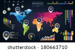 Simple vector template of continental world map with modern triangle pattern and infographic elements set