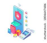 online secure nfc smartphone... | Shutterstock .eps vector #1806647686
