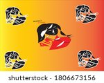 black and red coloring art with ...   Shutterstock .eps vector #1806673156