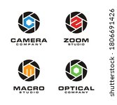 Shutter aperture camera lens logo design with initial Letter C Z S M O for photo, photography or photographer business