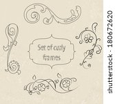 set of curly frame  hand drawn  ... | Shutterstock .eps vector #180672620