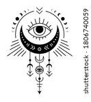 boho moon and eye. vector...   Shutterstock .eps vector #1806740059