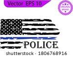 thin blue line us flag. flag... | Shutterstock .eps vector #1806768916