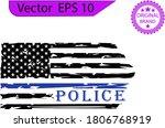 thin blue line us flag. flag... | Shutterstock .eps vector #1806768919