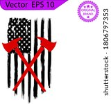 firefighter distressed flag ... | Shutterstock .eps vector #1806797353