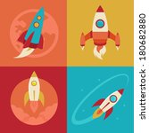 vector icons in flat style  ... | Shutterstock .eps vector #180682880
