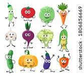 vegetables characters set.... | Shutterstock .eps vector #1806856669
