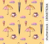 Seamless Pattern With Umbrella...