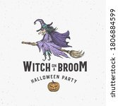 witch on a broom halloween logo ... | Shutterstock .eps vector #1806884599