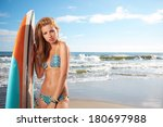 beautiful young woman surfer... | Shutterstock . vector #180697988