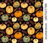 Watercolor Pumpkins Seamless...