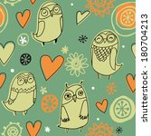 owls and flowers pattern   Shutterstock .eps vector #180704213